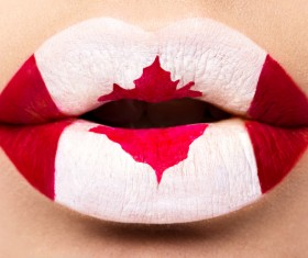 National flags painted on lips Stock Photo 04