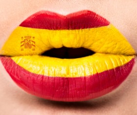 National flags painted on lips Stock Photo 05