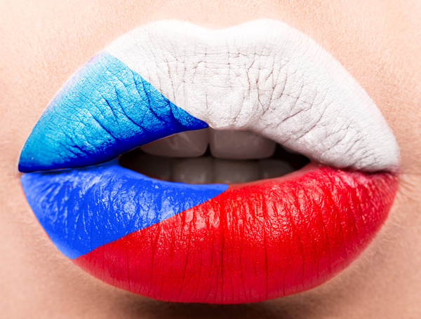 National flags painted on lips Stock Photo 06