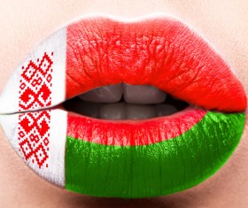 National flags painted on lips Stock Photo 09