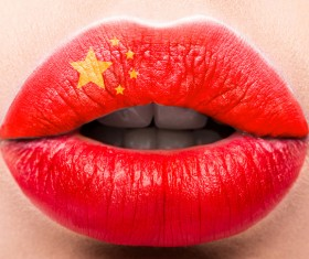 National flags painted on lips Stock Photo 10