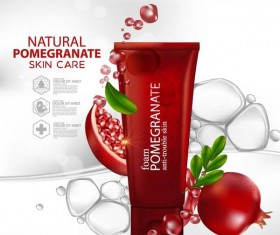 Natural pomegranate cosmetic advertising poster template vectors 01