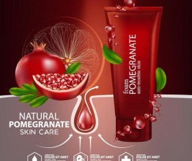 Natural pomegranate cosmetic advertising poster template vectors 03