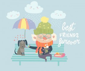 Old man with dog and easter card vector 01