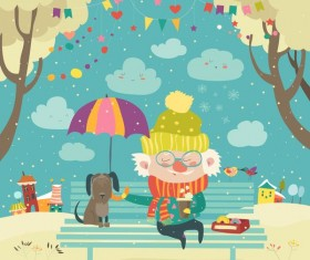 Old man with dog and easter card vector 02