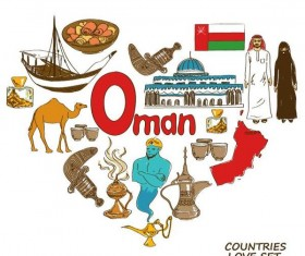 Oman country elements with heart shape vector
