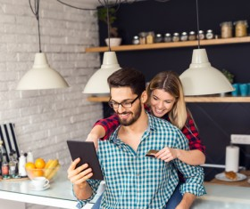 Online shopping couple Stock Photo
