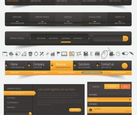 Orange with black navigation menu vector