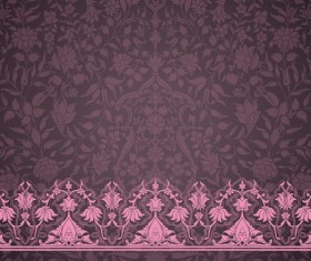 Ornate decor pattern with border vector material 06