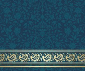 Ornate decor pattern with border vector material 07