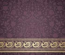 Ornate decor pattern with border vector material 08