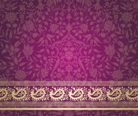 Ornate decor pattern with border vector material 09