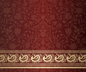 Ornate decor pattern with border vector material 10