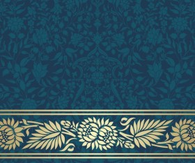 Ornate decor pattern with border vector material 12