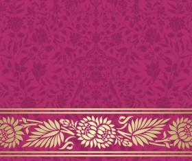 Ornate decor pattern with border vector material 13