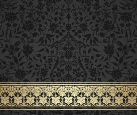 Ornate decor pattern with border vector material 15