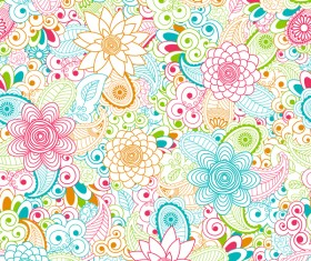 Outline floral seamless pattern vector