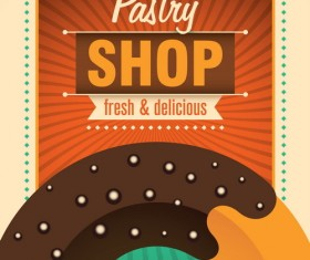 Pastry shop poster template retro vector