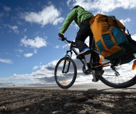 People traveling by bicycle Stock Photo 01