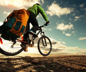 People traveling by bicycle Stock Photo 02