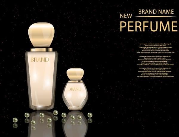 Perfume glass bottle with black background vector 01