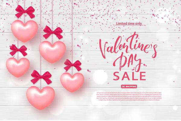 Pink heart balloon with valentine sale background vector