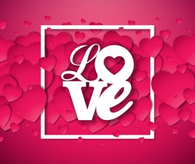 Pink red valentine love background vector