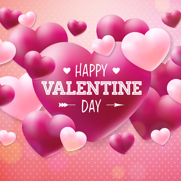 Pink with red heart shape valentine card template vector free download