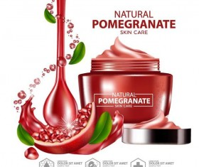 Pomegranate skin care cosmetic advertising poster vectors 04
