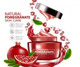 Pomegranate skin care cosmetic advertising poster vectors 05