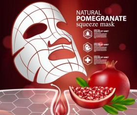 Pomegranate squeeze mask advertising poster vector 02
