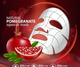 Pomegranate squeeze mask advertising poster vector 03