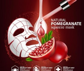 Pomegranate squeeze mask advertising poster vector 04