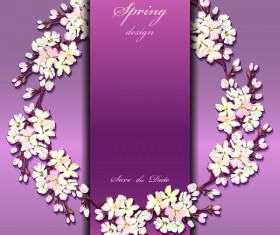 Purple spring card with flower vectors 02