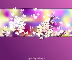 Purple spring card with flower vectors 03