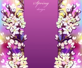 Purple spring card with flower vectors 04