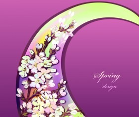 Purple spring card with flower vectors 05