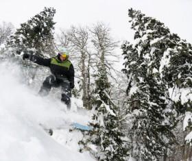 Ramp speed skiing Stock Photo