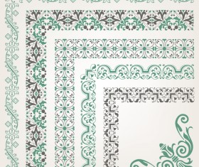 Rector corner decorative seamless border vector 02