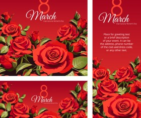 Red Mothers Day card template vector