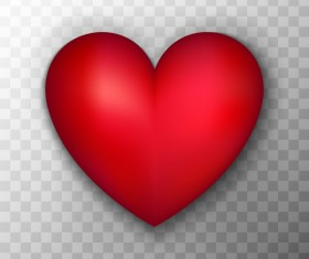 Red heart shape illustration vector 01