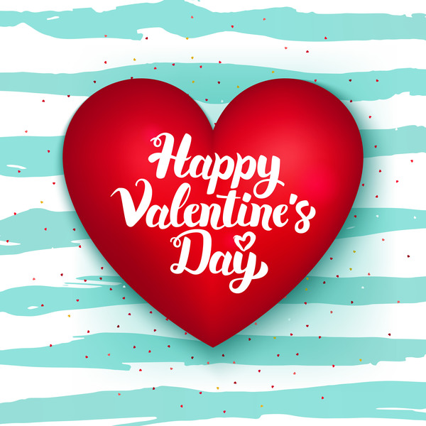 red heart shape valentine card vector free download