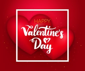 Red heart shape with red valentine card vector