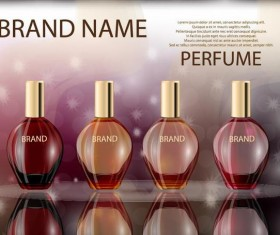 Red perfume glass bottle with poster template vector