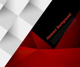 Red with black geometry background vector 01