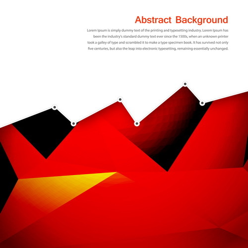 Red with black geometry background vector 02
