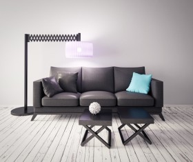 Retractable floor lamp and sofa Stock Photo