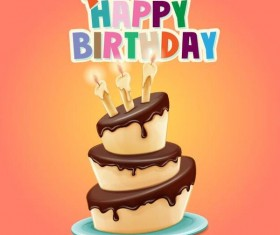 Retro birthday card with cartoon cake vector 01