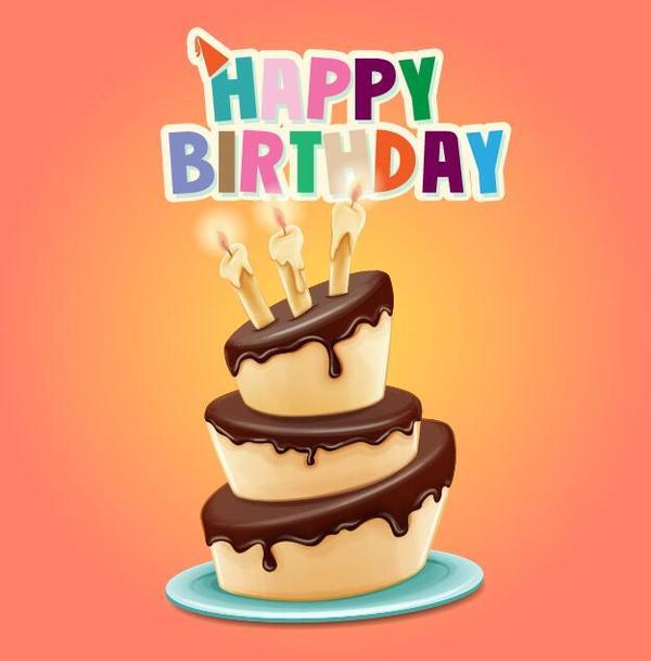 Retro birthday card with cartoon cake vector 01