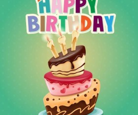 Retro birthday card with cartoon cake vector 02